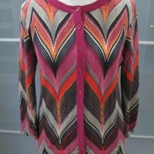 Button Front 3/4 Sleeve Cardigan Sweater Size S